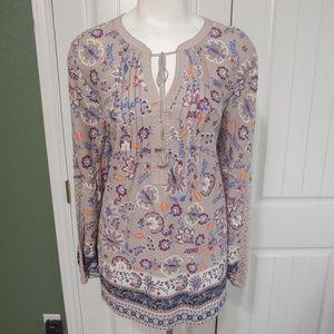 Vintage America Boho Woman Multicolor Floral Shirt